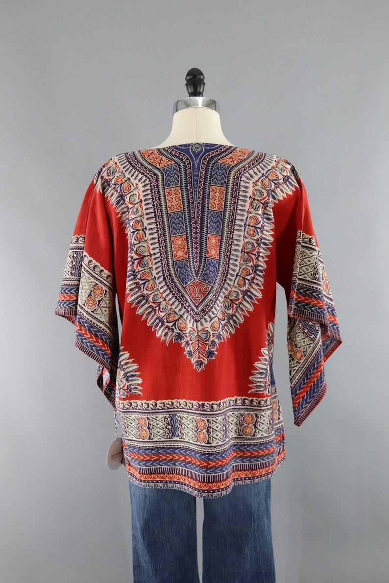 Vintage 1970s Hippie Tunic  Red  70s Indian Cotton Shirt  Angel Sleeves  Festival Top