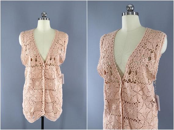 1980s Vintage Crocheted Cardigan Sweater Vest / 80
