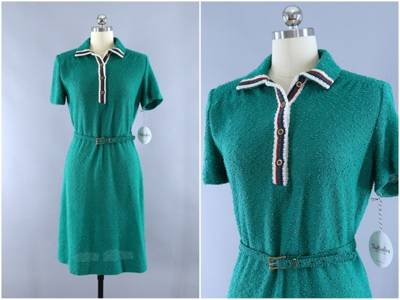 Vintage 1980s Knit Sweater Dress / Emerald Green B