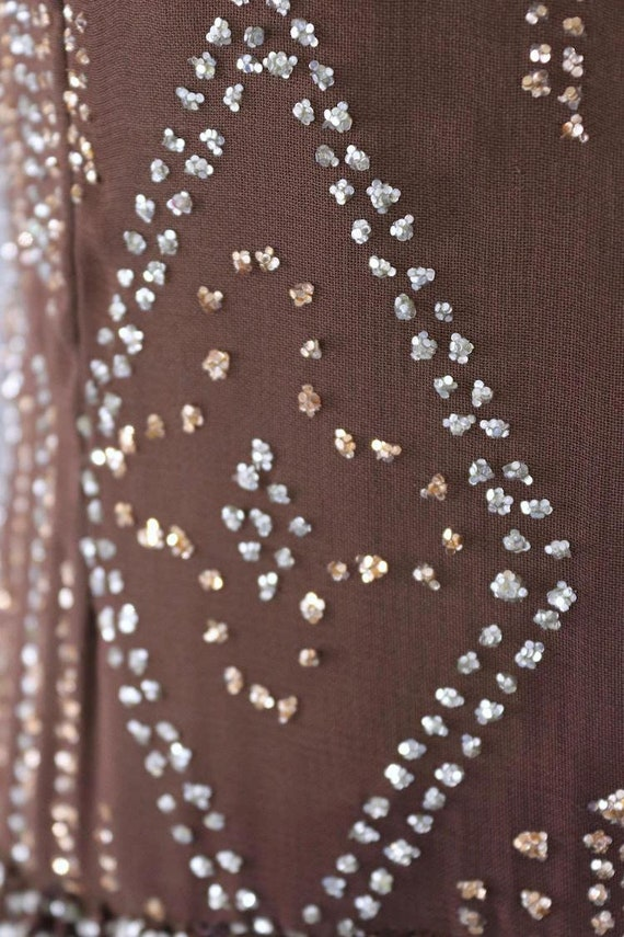 Vintage Formal Dress, Pauline Trigere, Mocha Brow… - image 4