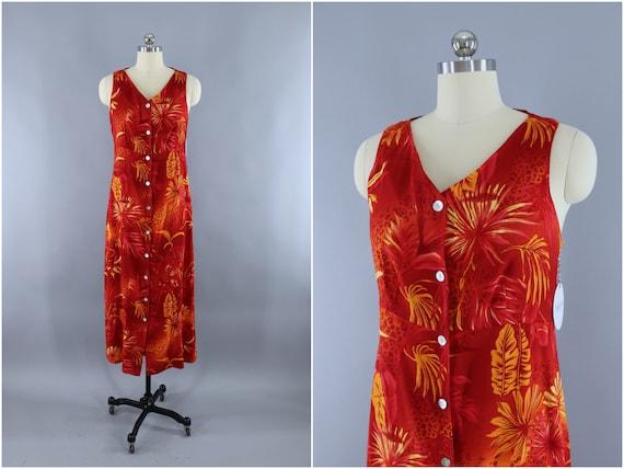 Hawaiian Print Dress, Vintage 1990s Sleeveless Sun