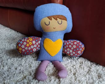 Sky- Love Fairy Softie Doll // Handmade Doll // New Baby Gift // Birthday Gift // Child Room Decor