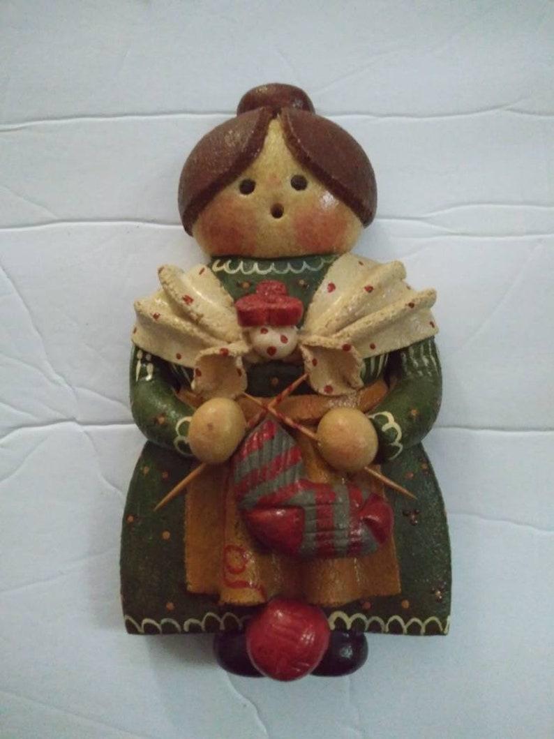 Vintage Salt Dough Doll Sculpture Wall Hanging.