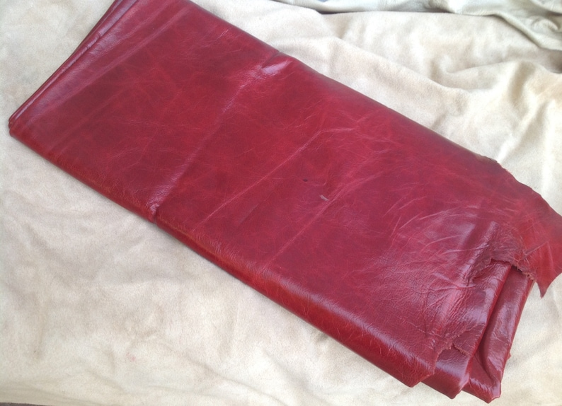 Cherry Red Cowhide Full Leather Hide BR703 image 0