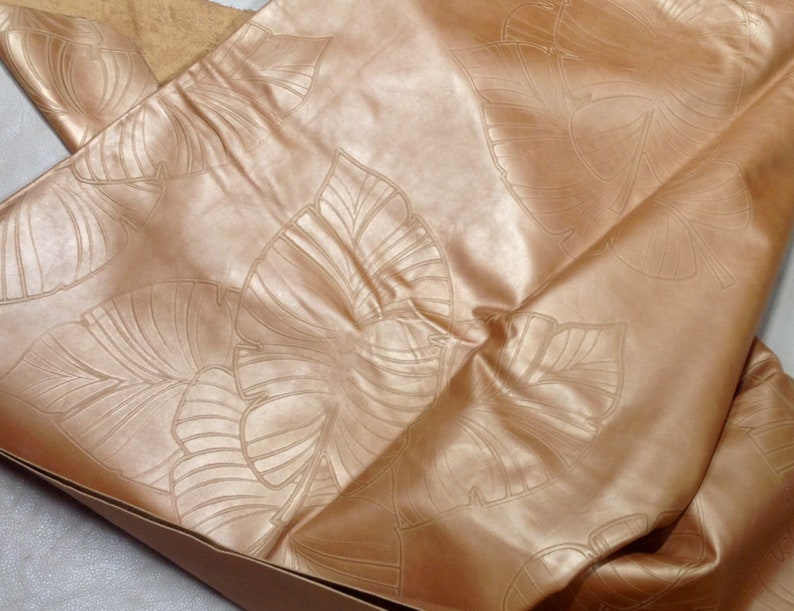 Golden Caramel Embossed Palm Leaves Cowhide Leather Partials DD2039
