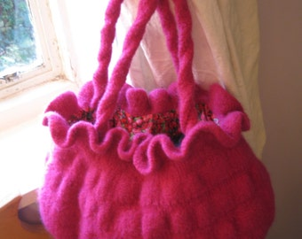 PDF Knitting Pattern for Pink Bubble Bag