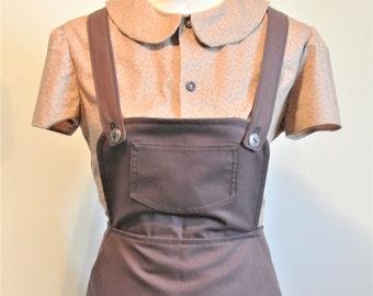 Vintage landgirl inspired chocolate brown lpinafore skirt