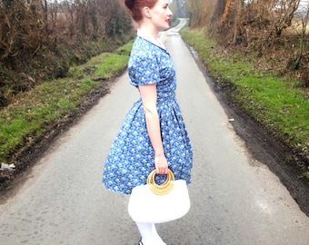 1950s style country rose shirt dress