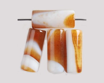 4 Pieces Banded Agate Tube Beads Gold Brown White Healing Gemstones Earrings Bracelet Necklace Pendant Bead Jewelry Making DIY 16mm x 6mm