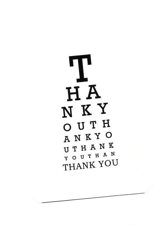 Eye Chart Cardank Youeye Charteye Chart Cardper Etsy
