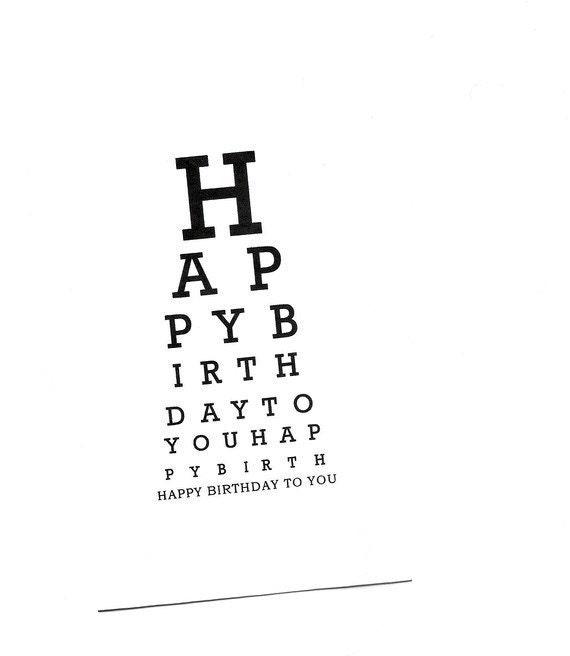 Eye Chart Cardhappy Birthdayeye Charteye Chart Cardper Etsy