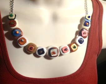 To Hip to be Square button necklace