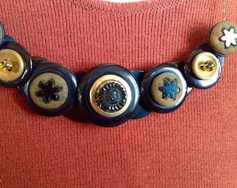 Vintage Roman Elegance button necklace