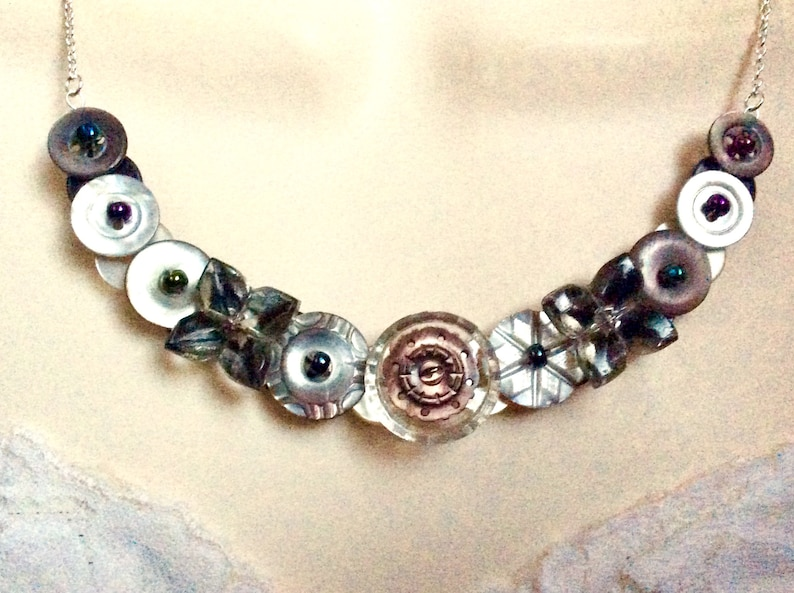 Button necklace Eclectic Elegance in Glass and Pearl