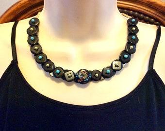 Blue Confetti button necklace