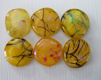 Mellow Yellow Freeform Dichroic Glass Cabochons