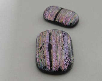 Two Uncalibrated, Oval/Rectangular, Dichroic glass cabochons