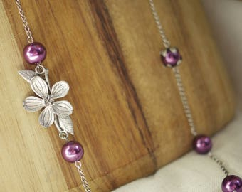 Long Flower and Pearl Chain Necklace purple berry flower bud blossom rose hip nature summer spring fall autumn anniversary gift set handmade