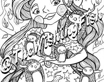 Owl Witch-INSTANT DOWNLOAD - colouring page
