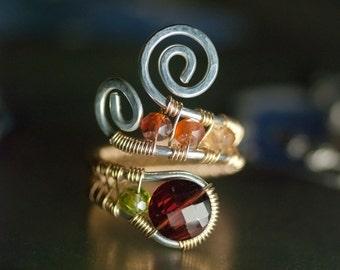 "LUXE Gemstone, 14K Goldfilled, Argentium Silver Wirework Ring - AA Pyrope Garnet, Peridot, and Hessonite Garnet - ""Bordeaux Summer"""