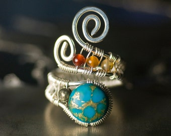 "Turquoise Agate Pyrite Argentium Silver Wirework Ring - Cerulean, Azure, Nickel Free, December Birthstone, Sky Blue - ""Fair Skies"""