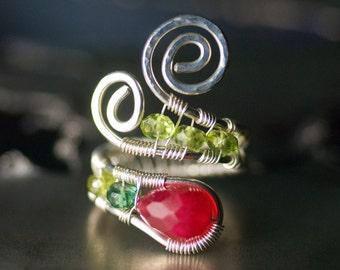 "Ruby Ring, Gemstone Silver Wirework Ring - Berry Red Ruby Quartz, Chrome Apatite, Vessonite, Peridot, July Birthstone - ""Strawberry Fields"""