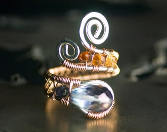 "Blue Mystic Quartz Ring - Gemstone, 14k Rose Gold, Argentium Silver, Water Sapphire Iolite, Mexican Fire Opal - ""Dawn"""