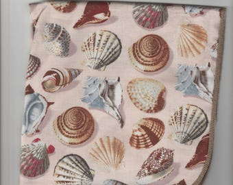 "1 Napkins Set of 2,4 or 6 Surged Sea Shells Napkins made in Maine Carol's Country Crafts 14""x14"" beige, sand, beach handmade"