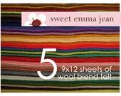 9x12 Wool Felt Sheets - Choose any FIVE wool blend felt sheets