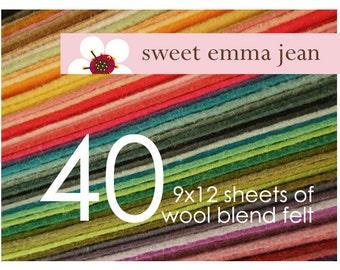 Wool Felt Sheets - Choose Any Forty (40) - Merino Wool Blend Felt