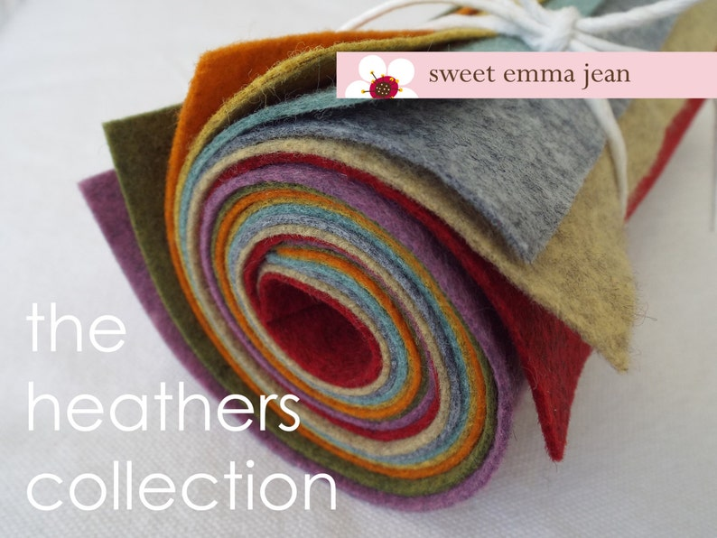 9x12 Wool Felt Sheets  A Collection of Heathers  8 Sheets of image 0