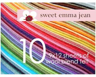 Wool Felt Sheets - Choose Any Ten (10) - Wool Blend Felt