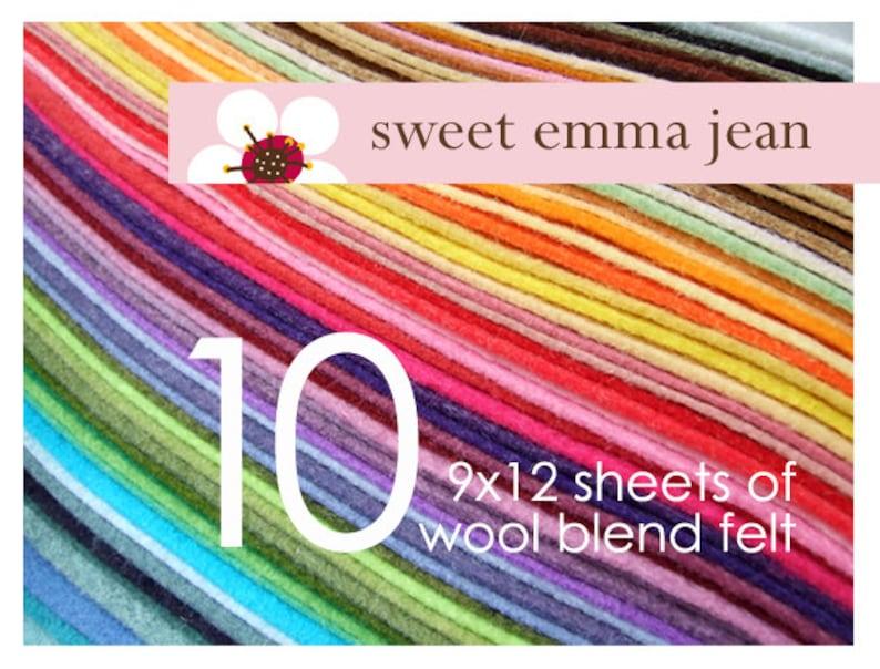 Wool Felt Sheets  Choose Any Ten 10  Wool Blend Felt image 0
