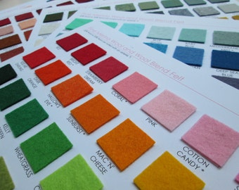 Wool Felt Swatch Card Set - 213 Amazing Colors  (Plus you get a 5 dollar shop credit with purchase)