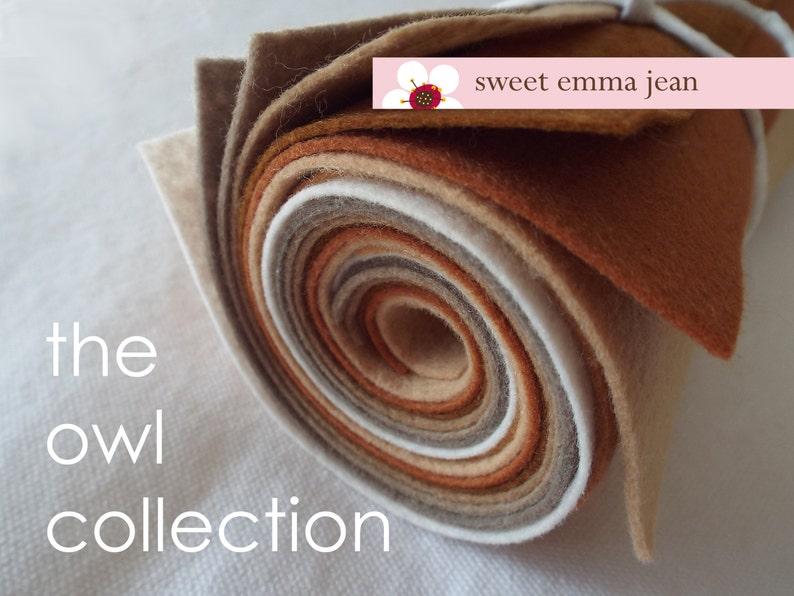 9x12 Wool Felt Sheets The Owl Collection 8 sheets of wool blend felt