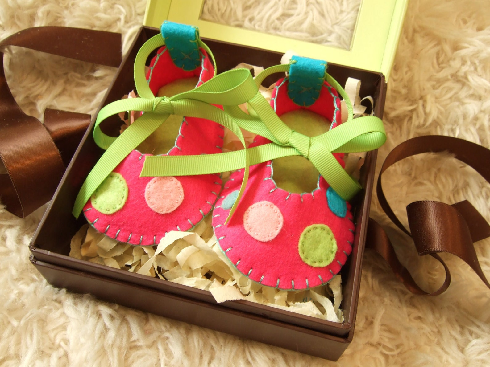 hot pink and lime green ballet flats with polka dots - felt baby shoes - can be personalized