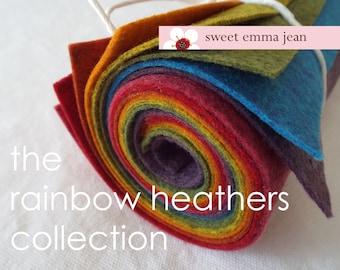 9x12 Wool Felt Sheets - The Rainbow Heathers Collection - 8 Sheets of Felt