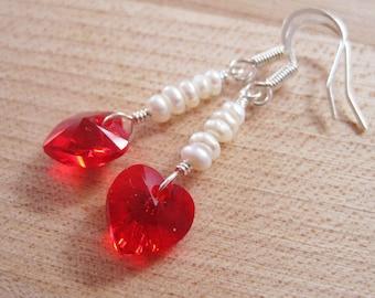 Red Swarovski Crystal Heart and White Freshwater Pearls Dangle Earrings, Pink Rose Violet Amethyst Aquamarine Black Valentine Hearts