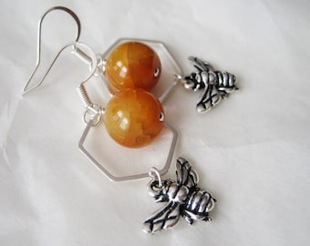 Yellow Agate Silver Plated Hexagon & Bee Charm Earrings, Bumble Honey Bee Jewelry, Nature Inspired, Natural Gemstone Jewellery, Gift For Her