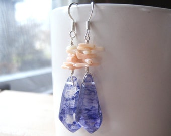 Blueberry Quartz Hexagonal Statement Earrings, Light Pink Ombre Coral Twigs, Large Transparent Gemstone Dangle, Indigo Ink Needles, For Her