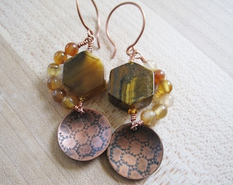 Yellow Agate Tiger Eye Hexagon Honeycomb Charm Copper Earrings, Nature Inspired Jewelry, Natural Gemstone OOAK Dangles, Earthly Toned