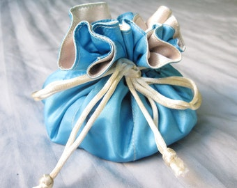 Blue Travel Jewelry Pouch, Girlfriend Gift, Mothers Day Gift, Jewelry Organizer, Satin Drawstring Bag