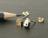 Solid 14k Gold Tiny Amsterdam house STUD EARRINGS, dutch houses, canal houses, gift for architect, traveller gift, cityscape earrings