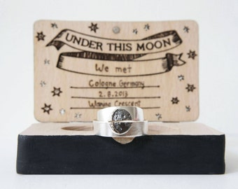 UNDER THIS MOON / Personalised moon phase wedding band set in silver,  moon lovers rings, custom moon jewelry, phases of the moon rings