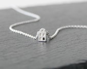 Ready to Ship! MOOI / BEAUTIFUL - Tiny Amsterdam House Necklace, silver miniature house, graphic, dutch architecture, minimal, travel europe