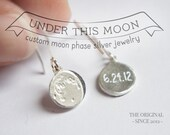 UNDER THIS MOON / Earrings - Personalized moon phase earrings of your special date in silver, delicate moon earrings, new mom custom gift
