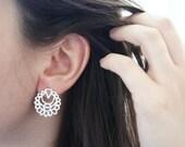 QAMAR Silver Studs - Moroccan Sugar Collection - Handmade, sugar, delicate, geometric, moon, mystic, bridal earrings, candy
