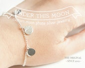UNDER THIS MOON / Custom moon phase silver bracelet,  birthday moon bracelet, first kiss moon, special moments, memento