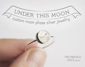 UNDER THIS MOON / Ring - Personalized lunar phase ring of your special night in silver, dainty moon ring, moon phase ring, crescent moon
