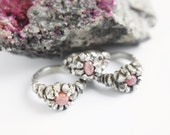 READY to SHIP - NUSTA  - Rosa Inca Collection - Rhodochrosite Ring - Sterling Silver - ooak engagement ring, size 5, 6, 7